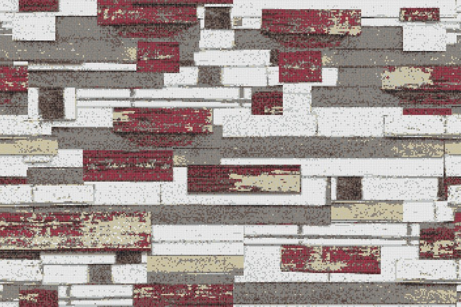 Red reclaimed wood Contemporary Textural Mosaic by Artaic