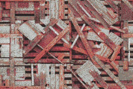 Red wooden pallets Contemporary Textural Mosaic by Artaic