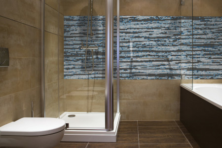 Blue wood grain Contemporary Textural Mosaic installation by Artaic