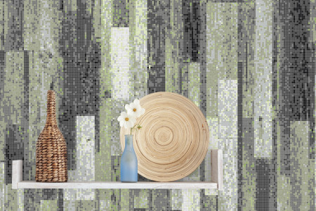 Green reclaimed wood Contemporary Textural Mosaic installation by Artaic