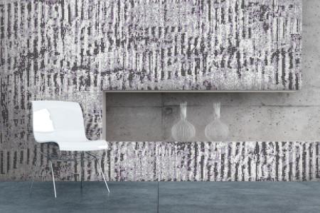 Purple cardboard Contemporary Textural Mosaic installation by Artaic