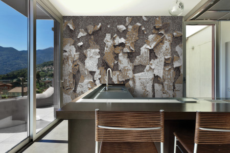 Brown natural materials Contemporary Textural Mosaic installation by Artaic