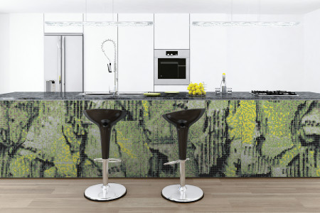 Green distressed texture Contemporary Textural Mosaic installation by Artaic