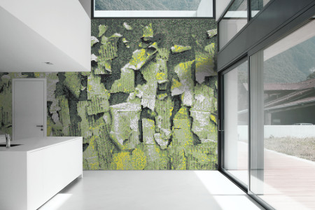 Green natural materials Contemporary Textural Mosaic installation by Artaic