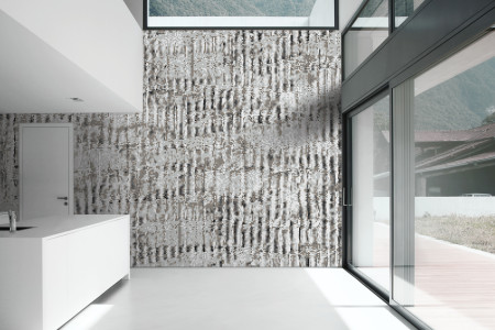 Grey cardboard Contemporary Textural Mosaic installation by Artaic