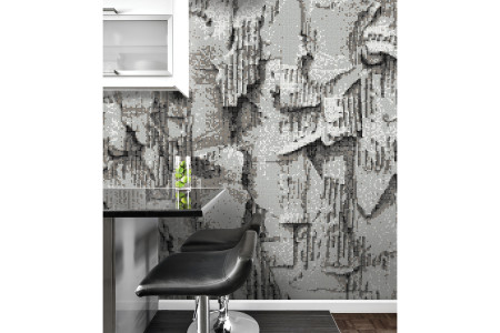Grey distressed texture Contemporary Textural Mosaic installation by Artaic