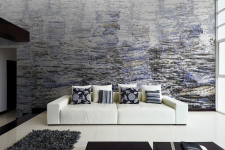 Blue recycled paper material Contemporary Textural Mosaic installation by Artaic
