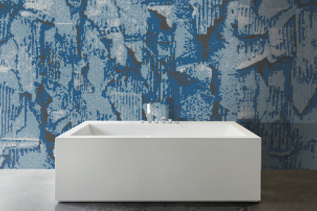 Blue distressed texture Contemporary Textural Mosaic installation by Artaic