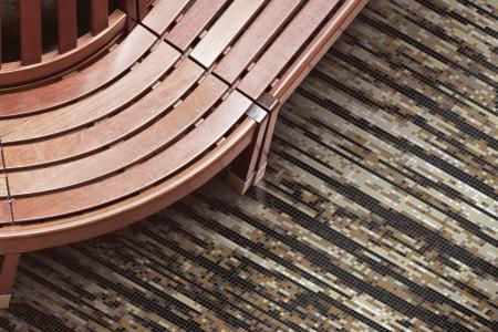 Brown wood grain Contemporary Textural Mosaic installation by Artaic