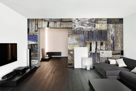 Brown wooden pallets Contemporary Textural Mosaic installation by Artaic