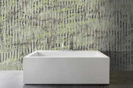 Green cardboard Contemporary Textural Mosaic installation by Artaic