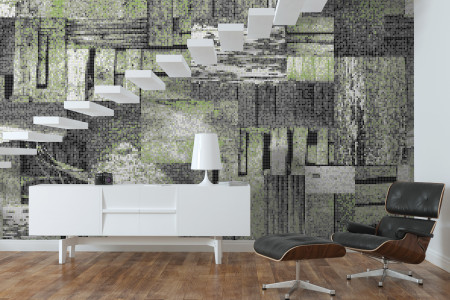 Green wooden pallets Contemporary Textural Mosaic installation by Artaic