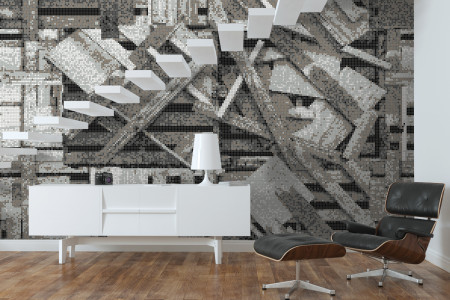 Grey wooden pallets Contemporary Textural Mosaic installation by Artaic
