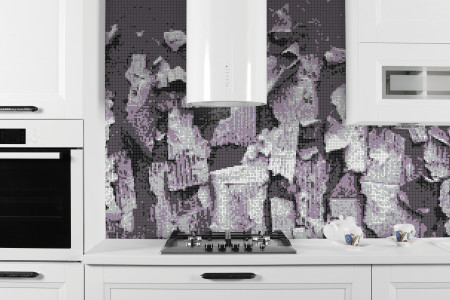 Purple natural materials Contemporary Textural Mosaic installation by Artaic
