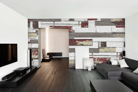 Red reclaimed wood Contemporary Textural Mosaic installation by Artaic