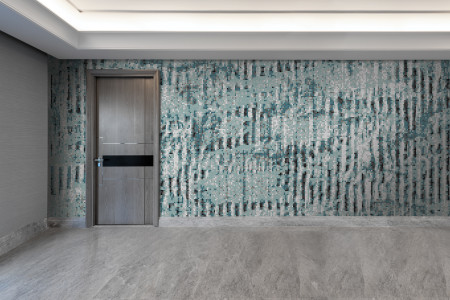 Turquoise cardboard Contemporary Textural Mosaic installation by Artaic