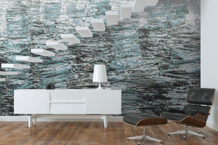 Turquoise recycled paper material Contemporary Textural Mosaic installation by Artaic