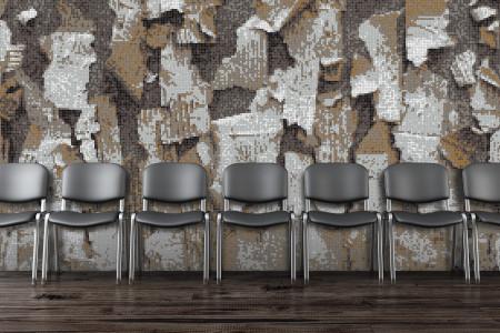Brown natural materials Contemporary Textural Mosaic installation by Artaic
