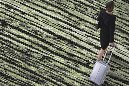 Green wood grain Contemporary Textural Mosaic installation by Artaic