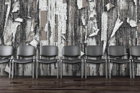 Grey tree bark Contemporary Textural Mosaic installation by Artaic