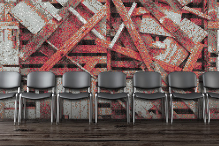 Red wooden pallets Contemporary Textural Mosaic installation by Artaic