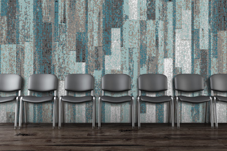 Turquoise reclaimed wood Contemporary Textural Mosaic installation by Artaic
