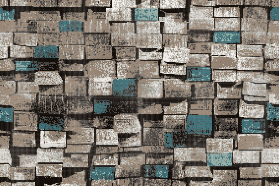 Turquoise reclaimed lumber Contemporary Textural Mosaic by Artaic