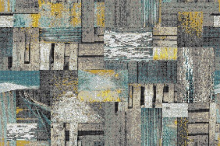 Turquoise wooden pallets Contemporary Textural Mosaic by Artaic