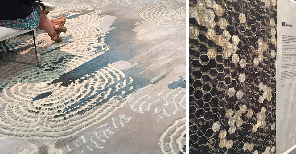 Durkan's booth had a lot of texture including these layered designs from  their LAKIR and MODESTO lines.