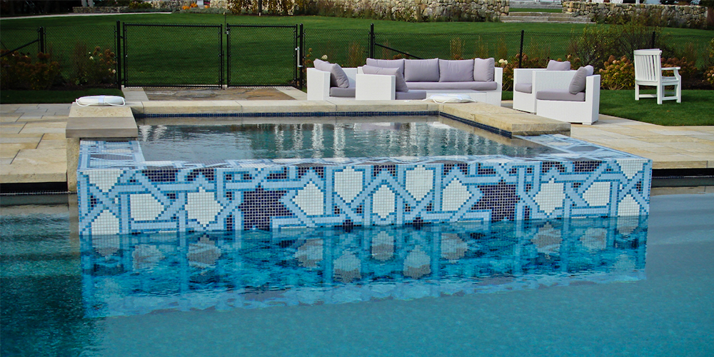 blue geometric arabesque mosaic tile design lombardi pool installation