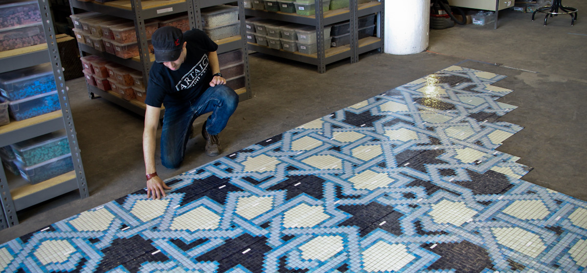 blue arabesque geometric mosaic tile design by artaic - lombardi residential pool