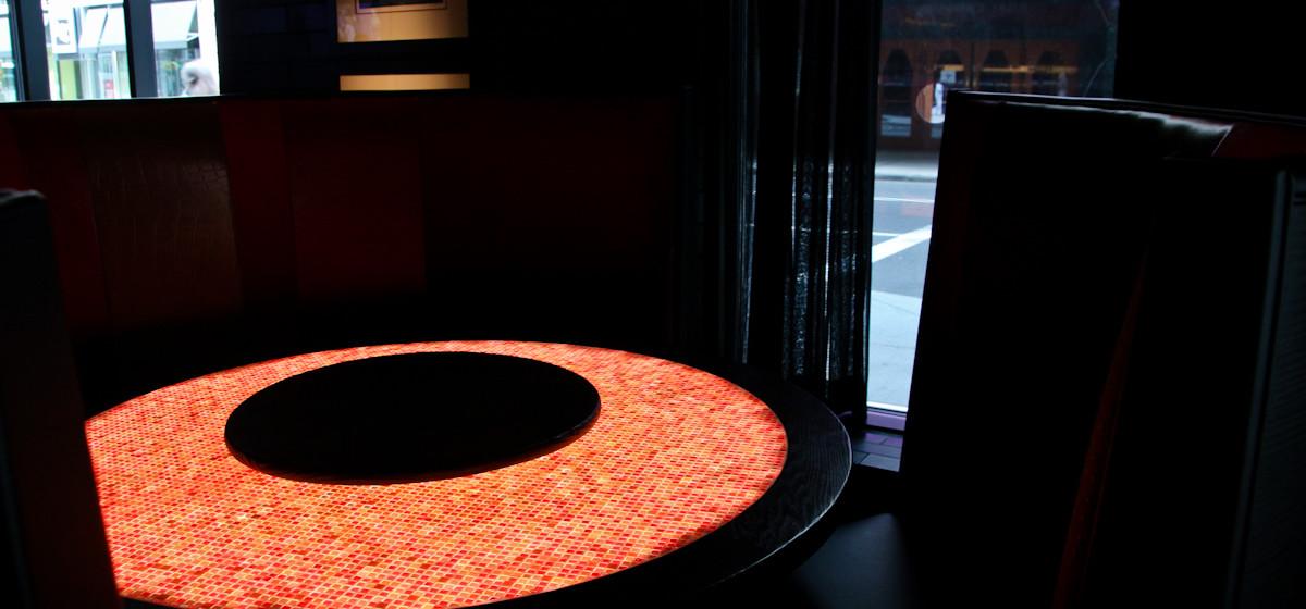 legal crossing bergmeyer backlit led orange table restaurant mosaic