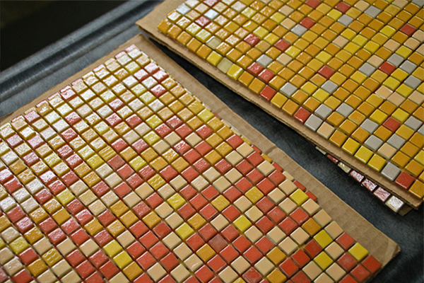 Legal Crossing Backlit Orange Abstract Glass Mosaic Artaic