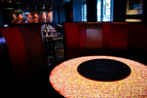 legal crossing bergmeyer backlit led orange table restaurant mosaic