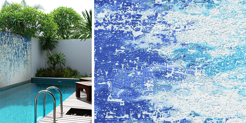 Top Pool Design Tips   Abstract Splash Blue Water Inspired Glass Mosaic  Tile Patterns By Artaic