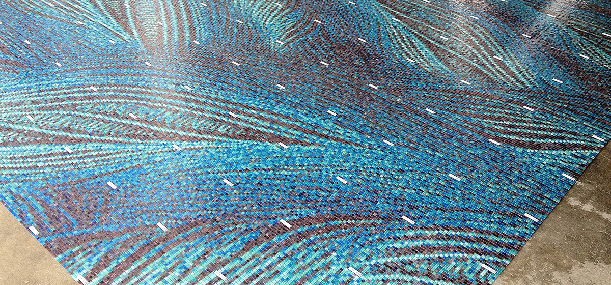 01121027 blue feather texture custom hospitality mosaic tile design for ritz coconut grove outdoor fountain by Artaic