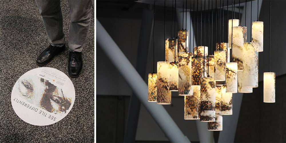 Custom Backlit Mosaic Eyes Lighting Design Tile Lantern | Artaic Ayre Bostik