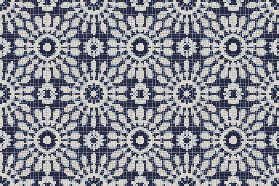 blue textiles Traditional Ornamental Mosaic by Artaic