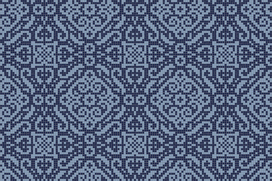 blue textiles Traditional Ornamental Mosaic by Artaic