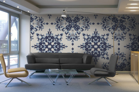 blue textiles Traditional Ornamental Mosaic installation by Artaic
