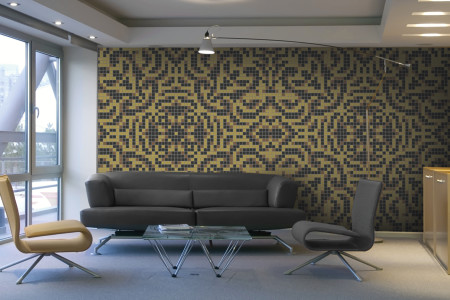 yellow textiles Traditional Ornamental Mosaic installation by Artaic
