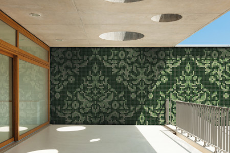 green textiles Traditional Ornamental Mosaic installation by Artaic