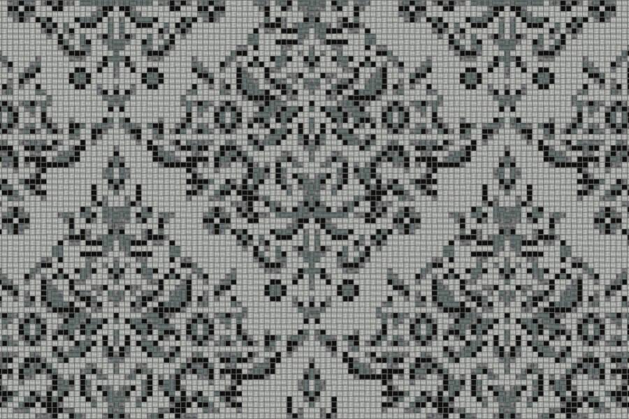 gray textiles Traditional Ornamental Mosaic by Artaic