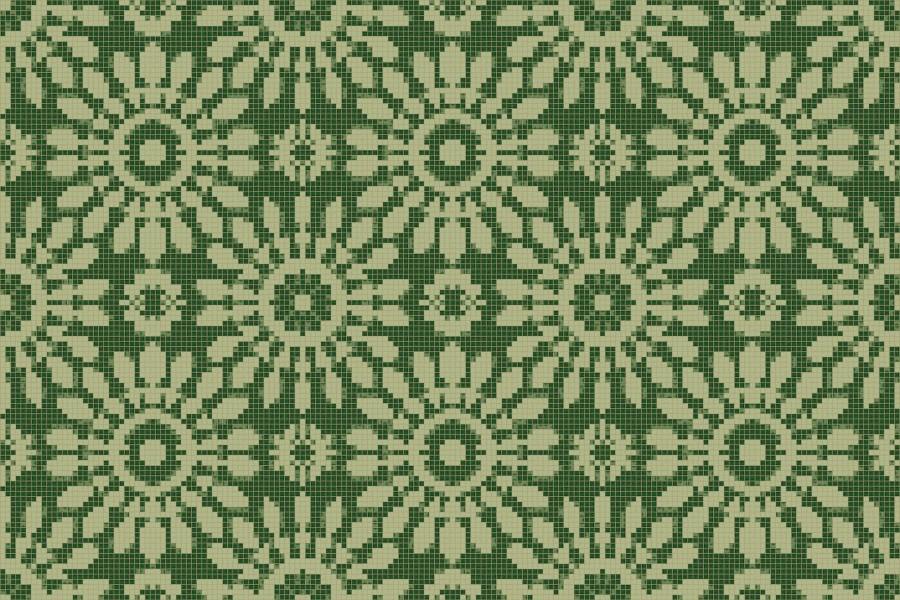 green textiles Traditional Ornamental Mosaic by Artaic