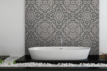 gray textiles Traditional Ornamental Mosaic installation by Artaic