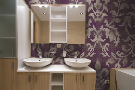 purple textiles Traditional Ornamental Mosaic installation by Artaic