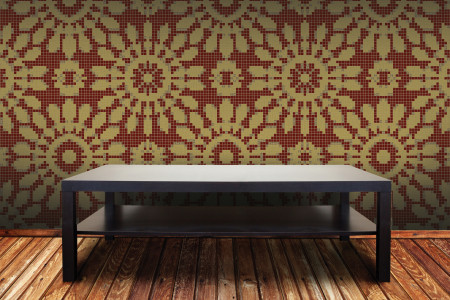 red textiles Traditional Ornamental Mosaic installation by Artaic