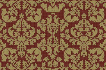 red textiles Traditional Ornamental Mosaic by Artaic