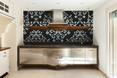 black textiles Traditional Ornamental Mosaic installation by Artaic
