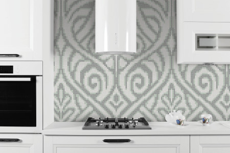 white textiles Traditional Ornamental Mosaic installation by Artaic